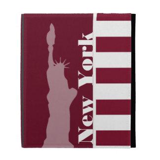Burgundy Stripes; New York iPad Case