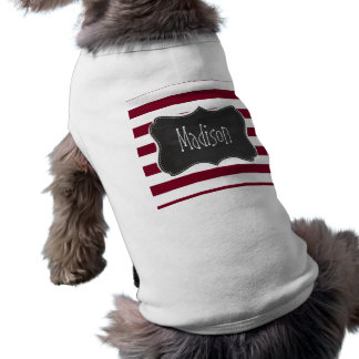 Burgundy Stripes; Vintage Chalkboard look Sleeveless Dog Shirt