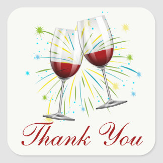 Burgundy Thank You Wine Glass Red Vineyard Wedding Square Sticker