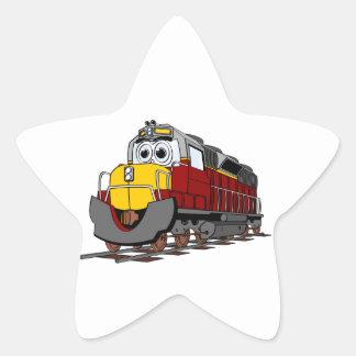 Burgundy Train Engine Cartoon Star Sticker