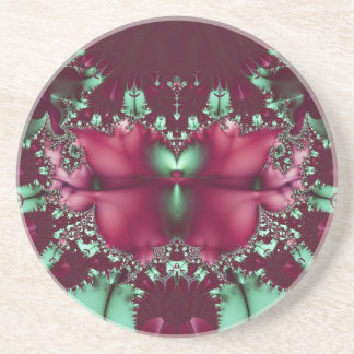 Burgundy Tulips With Aqua Abstract Coasters