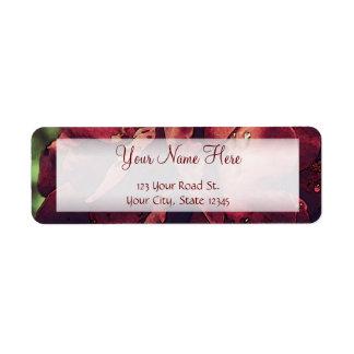 Burgundy Velvet Wet Rose Watercolor Return Address Label