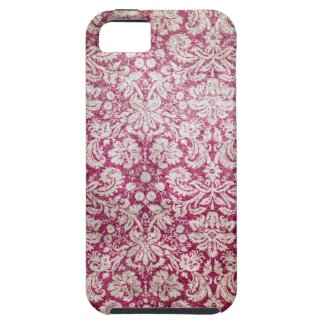 Burgundy Vintage Damask iPhone 5 Covers