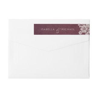 Burgundy vintage lace rustic wedding monogram wraparound return address label