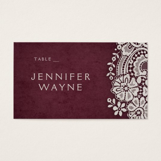 Burgundy vintage lace rustic wedding place cards