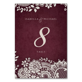 Burgundy vintage lace rustic wedding table card
