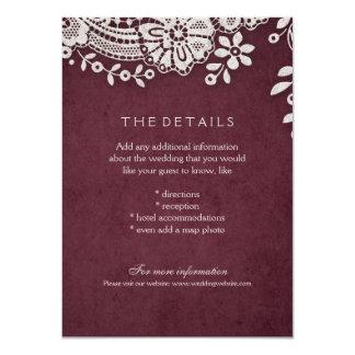 Burgundy vintage lace rustic weddng details card