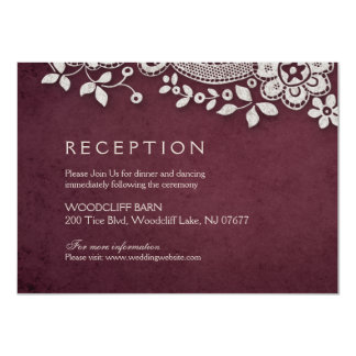 Burgundy vintage lace rustic weddng reception card