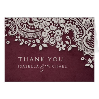 Burgundy vintage lace rustic weddng thank you card