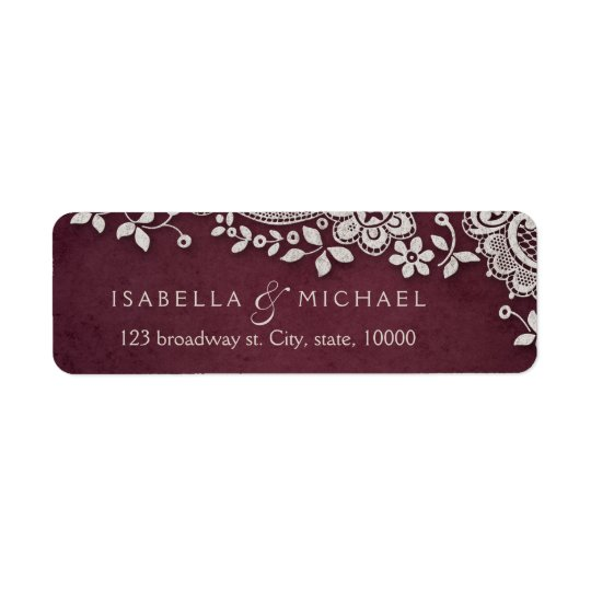 Burgundy vintage lace wedding return address
