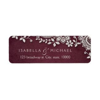 Burgundy vintage lace wedding return address return address label