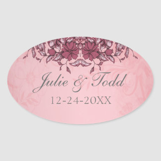 Burgundy Vintage Lace Wedding Save The Date Oval Sticker