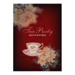 burgundy vintage peony floral Wedding tea party Invite