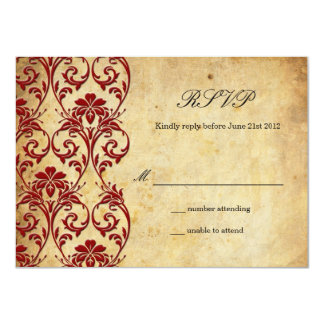 Burgundy Vintage Swirl Damask Wedding RSVP 11 Cm X 16 Cm Invitation Card