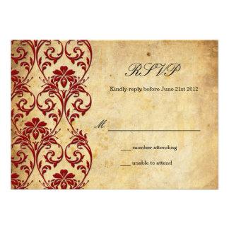 Burgundy Vintage Swirl Damask Wedding RSVP Personalized Invites