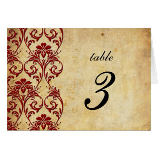 Burgundy Vintage Swirl Damask Wedding Table Number