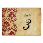 Burgundy Vintage Swirl Damask Wedding Table Number Cards