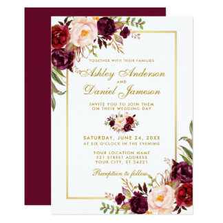 Burgundy Watercolor Floral Gold Wedding Invite GB