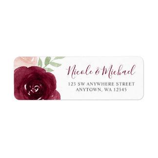 Burgundy Watercolor Floral Return Address