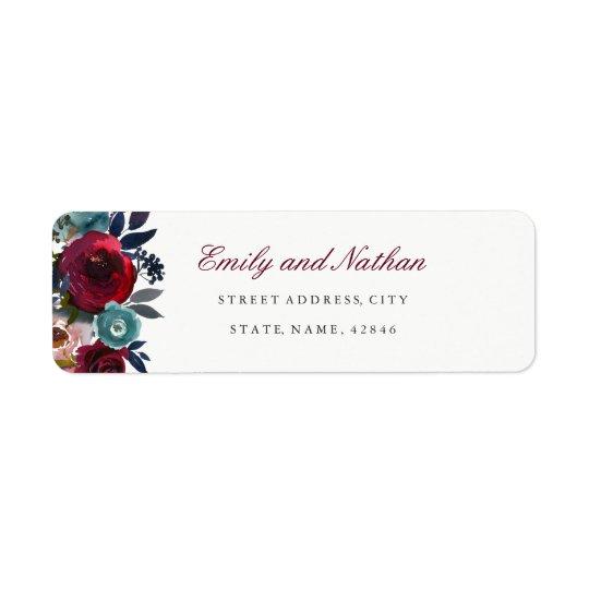 Burgundy Watercolor Floral Return Address Label