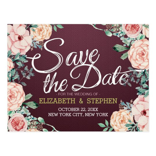 Burgundy Watercolor Floral Wedding Save the Date Postcard