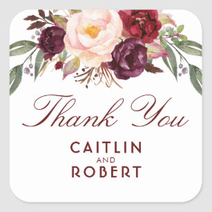 Burgundy Watercolor Flowers Elegant Thank You Square Sticker