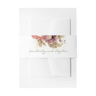 Burgundy Watercolor Flowers Elegant Wedding Invitation Belly Band