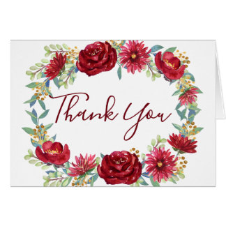 Burgundy Watercolor Flowers Thank You Card