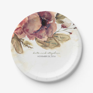 Burgundy Watercolor Flowers Vintage Fall Paper Plate