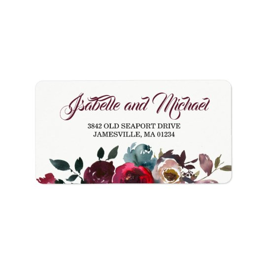 Burgundy Watercolor Red Floral Address Label