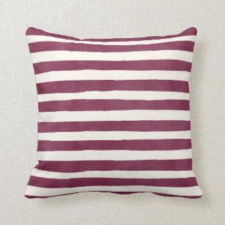 Burgundy Watercolor Stripes Autumn Throw Pillow