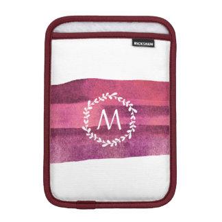 Burgundy Watercolor & Wreath Monogram iPad Mini Sleeve