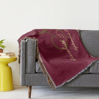 Burgundy Wedding Bride Groom Name Date Monogram Throw Blanket