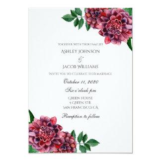 Burgundy wedding invitation floral. Dahlias invite