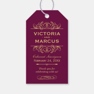 Burgundy Wedding Wine Bottle Monogram Favour Tags