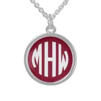 Burgundy White 3 Initials in a Circle Monogram Round Pendant Necklace