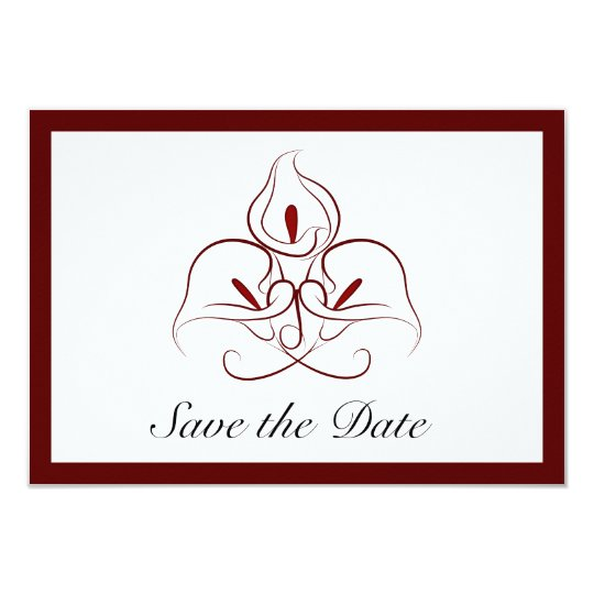 Burgundy & White Calla Lilies Save the Date