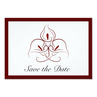 Burgundy & White Calla Lilies Save the Date Card