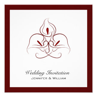 Burgundy White Calla Lilies Wedding Invitations