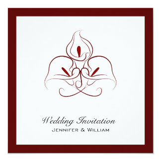 Burgundy & White Calla Lilies Wedding Invitations