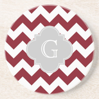 Burgundy White Chevron Gray Quatrefoil Monogram Coaster