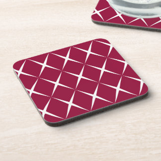 Burgundy White Diamond Pattern Beverage Coasters