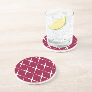 Burgundy White Diamond Pattern Coaster