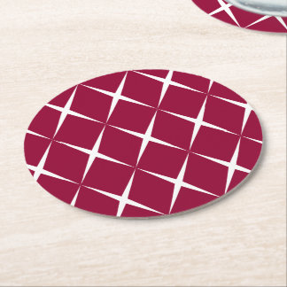 Burgundy White Diamond Pattern Round Paper Coaster