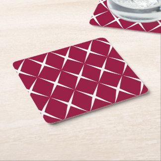 Burgundy White Diamond Pattern Square Paper Coaster