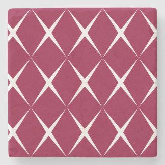 Burgundy White Diamond Pattern Stone Coaster