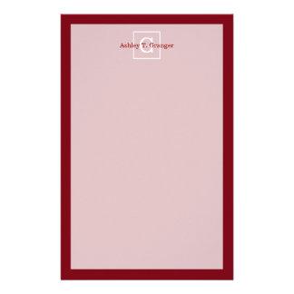 Burgundy White Framed Initial Monogram Custom Stationery