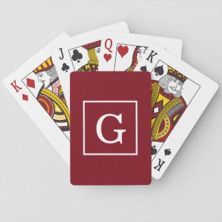 Burgundy White Framed Initial Monogram Poker Deck