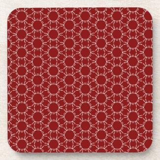 Burgundy White Honeycomb Pattern Coaster