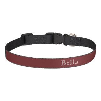 Burgundy White Lettering Custom Name Minimalist Pet Collar